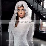 2016 Arabic High Neck Vestido De Novia Bridal Gowns robe de mariage Lace Long Sleeve Muslim Wedding Dresses with veil CWF2324