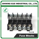 FS-015B 600V 10 Amp 5 Way Midget Type Din Rail Glass Fuse Holder