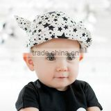 Baby summer hat baby sunbonnet child hat five-pointed star horn roll up hem baseball cap