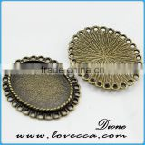 vintage style pendant tray findings	,Alloy Jewelry accessory,Wholesale alloy metal blank pendants
