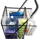 Metal Small Folding Shopping Cart with Double Basket and Wheels