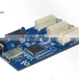 PCI-E 1X to 3 Port pci-e to pci converter card mini pci-e to usb3.0 cable splitters for pci-e 3 port