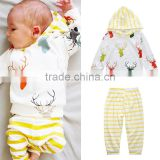 S17480A New Spring Autumn Newborn Baby Girl Clothes Long Sleeve T Shirt +Pant + Hat 3PCS/Set