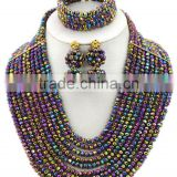 Multicolor 10layers Bling Opaque Balls Crystal Beads African Jewelry Set