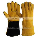 Brown Cow Split Leather Long Cuff Welding Gloves