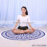 Wholesale egyption cotton mandala round thin beach towel, custom printed mandala round beach towel