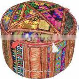 Embroidery Work Ottoman Cotton Pouf Cover Designer Indian Handmade Home Decor Patchwork Living Room Ottoman Cover wholesale Lot