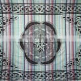 CIRCLE Overprinted on Madras Stripe Bedspreads