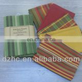 yarn dyed striped & checked kitchen towels,5 sets