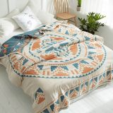 100% cotton blanket quilt Bohemia Style duvet 200*230cm AB side bedspread 4 layer Gauze Jacquard bed cover