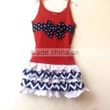 2015 beautiful baby girls ruffle kids skirt and top with chevron wholesale baby summer clothes