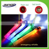 Custom wholesale plastic whistle with led light and flash light