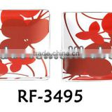 Sqaure Shape Professional Personalized Murano Glass Plate for Wall Hanging with Flower Design for Decoration