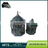 Delicate Bronze Pavilion Wooden Chinese Birdcage Candle Holder for Weeding Decoration