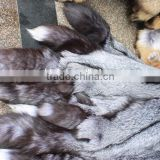 Good Quality Natural Color Raw Silver Fox Fur Skin / Pelt For Garment