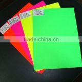 Art paper with surface green fluorescent sticker adhesive