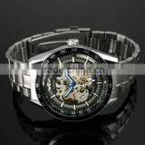 Mens Black Bezel Skeleton Stainless Steel Automatic Watch WM174