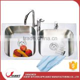 Above counter with faucet sri lanka stainless steel kitchen sink double bowl                                                                                                         Supplier's Choice