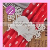 Love Heart Shape Laser Cut Wedding Party Decoration Napkin Ring MJ-29