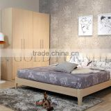 luxury turkey bedroom set wood double bed designs(SZ-BT005)
