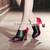 2015 Fashion Real Leather High Heels Shoes Wholesale Black and Pink boots Ankle boots high heels comfortable platfrom boots