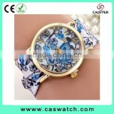 2016 geneva style floral ribbon watch, gold plated flowery face lady watch, vogue hot fashion lady watch