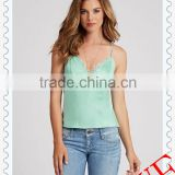 2014 Wholesale fashion solid color vests for women, lace up vest,women summer chest lace vest