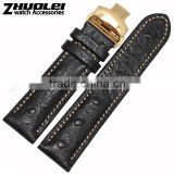 2015 New arrival 18|20|22mm high quality genuine osrich leather Men and women's Watch strap with butterfly buckle wholesale