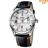 EYKI Brand Japan Movt Stainless Steel Back Leather Strap Business Man Watch with Calendar Clock