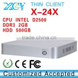 powerfull PC thin client pc wifi Mini pc Mini ITX Case X-24X 2G ram 500gb hdd support Image scanner