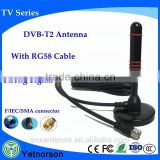 Low-loss DVB-T antenna hd power tv antenna with RG58 Cable