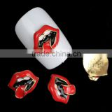 3D Nail Art Rhinestone Decoration Gold Plated Red Lips Black Retro Oval Pattern for Nail Art Makeup Accessories