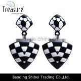 korean fashion accessories black and white triangle drop earrings jewelry for women fashion jewelry