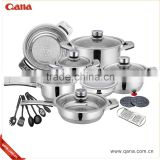wholesale QANA 16/17/18/19/21/22pcs german style Stainless Steel Cookware set                                                                         Quality Choice