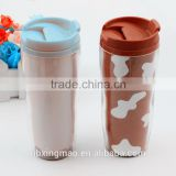 Best and cheap plastic cute double wall leak proof insulated thermos coffee tea dringking travel mugs with lids