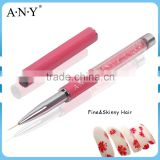 ANY Nail Art Design Care Pink Rhinestone Nail Art Paint Liner Brush Nylon Hair