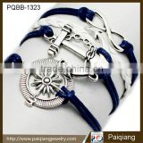Wholesale best selling fashion navy nautical vintage anchor infinity compass leather men bracelet