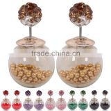 Fancy design new style elegant full rhinestone shambala ball women's double side stud earrings
