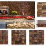 Boat Wood Mosaic - rustic color wood mosaic tile, ancient boat wood mosaic tile, wood mosaic designs wall tile EWA14