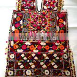 Indian banjara gypsy mirror work handmade dress decorated with tassels beads