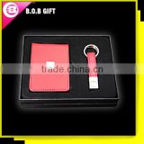 High Quality Business Gift Set Leather Card Holder With Key Chain