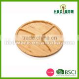 New Design round Serving Tray, bamboo Plate, Divided Platter