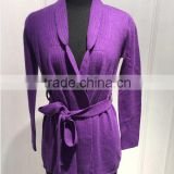 BGAX022 Women's cashmere knitted sweater with belt fashion handmade cardigan