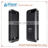 iFans Real Capacity 2400mah Rechargeable Wallet Battery Case For iPhone 5 Battery Case support IOS7 with MFi