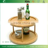 Natural Bamboo 2 Tier Round Cake Turntable Stand For Spice, Or Serving Turning Tray