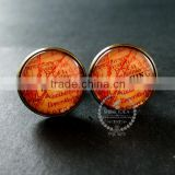 20mm vintage antiqued bronze Washington old map art collage glass cabochon round cufflinks fashion wedding cuff links 6600037