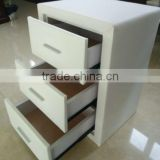 Hot sale white leather night stand with 3 drawers