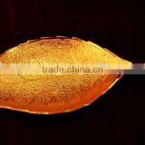 New design corporate gift item, return gift, home decoration brass gold plated leaf style tray