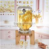 Glass Mason Jar Beverage Drink Dispenser with bamboo stand and stainless steel tap -2.5/5/10/15/20/30/50 litre