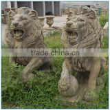 Outdoor Decoration Antique Life Size Natural Stone Marble Lion Statue